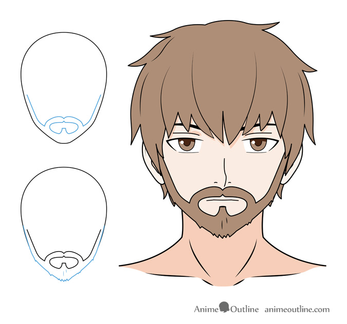 Anime beard with mustache and sideburns drawing