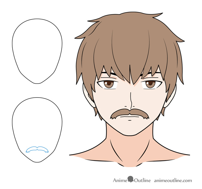 Anime mustache drawing