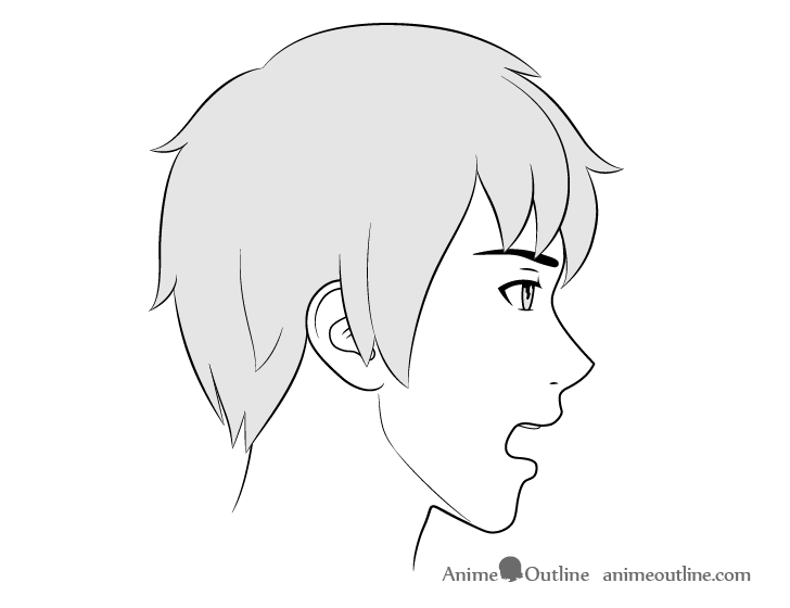 Anime male face side view open mouth drawing