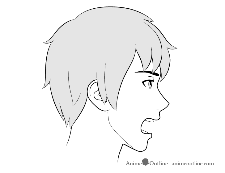 Anime male face side view yelling drawing
