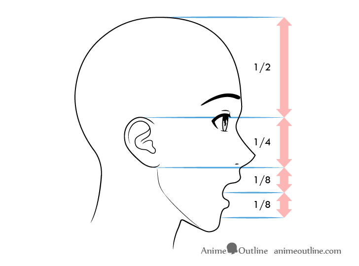 Anime male face proportions side view surprised expression