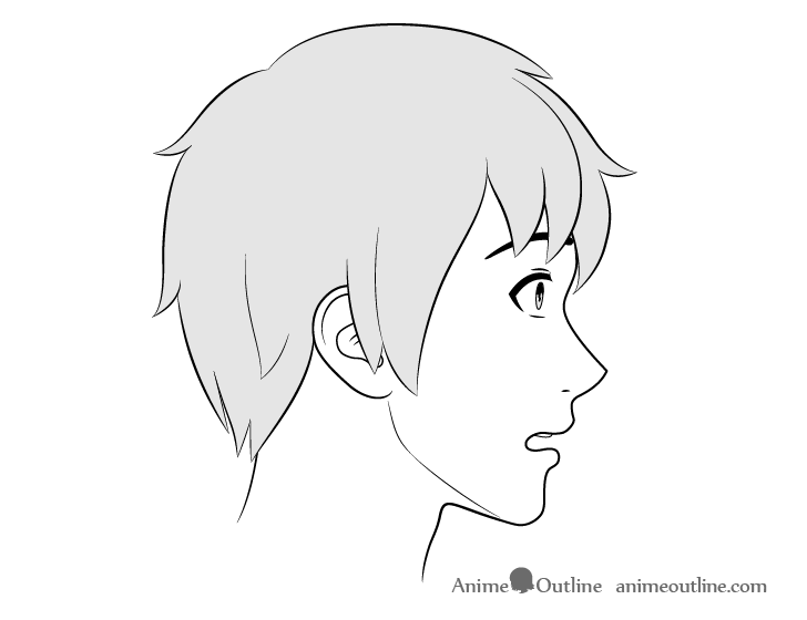 Anime male face side view scared expression drawing