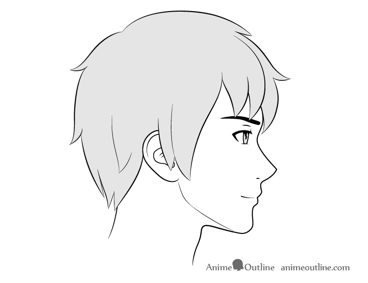 Anime male face side view smiling expression drawing