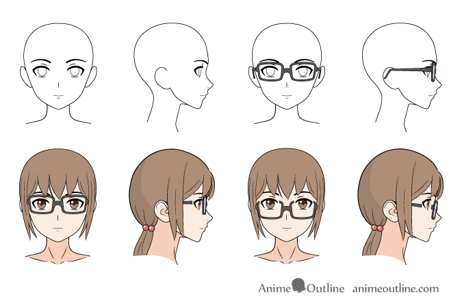 Anime glasses drawing examples