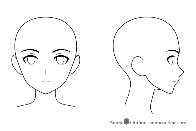 Anime female head & face front & side views