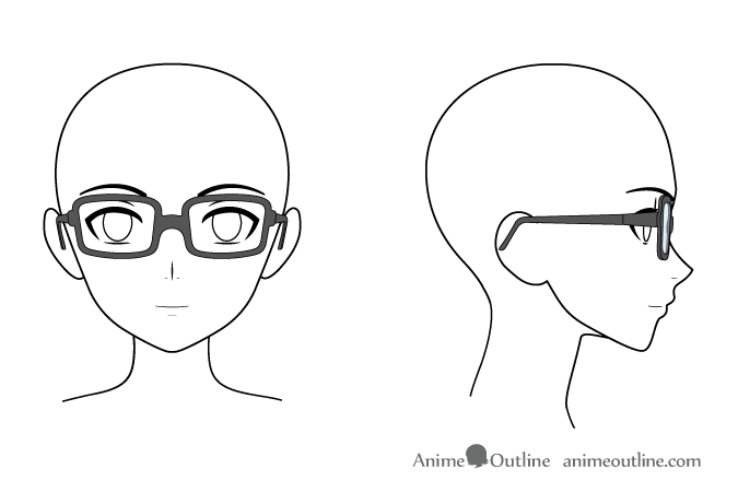Anime glasses on head front & side views