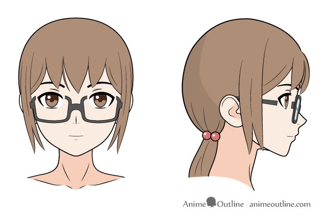Anime girl glasses on nose front & side views