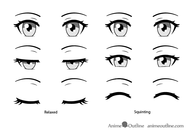 Anime eyes closing and squinting
