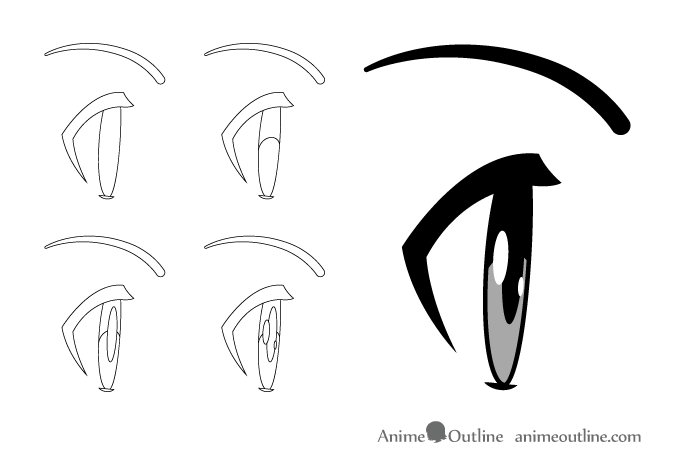 Anime eyes side view normal open state