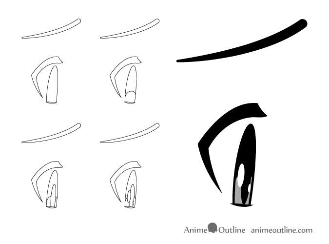 Embarrassed anime eyes side view