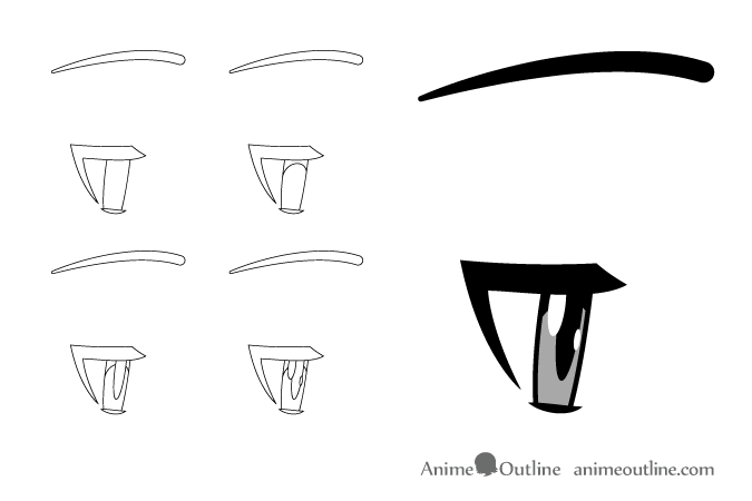Tired anime eyes side view