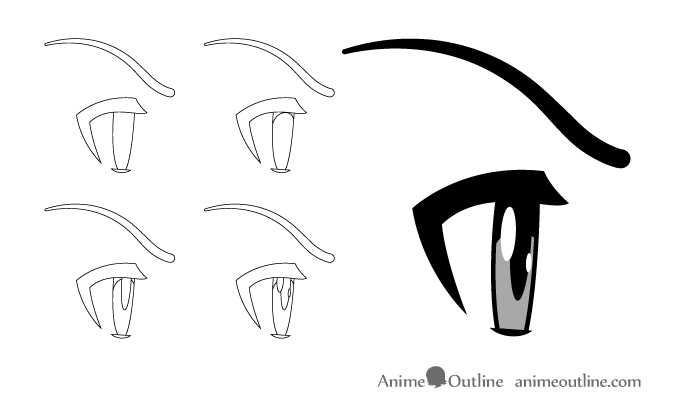 Angry anime eyes side view