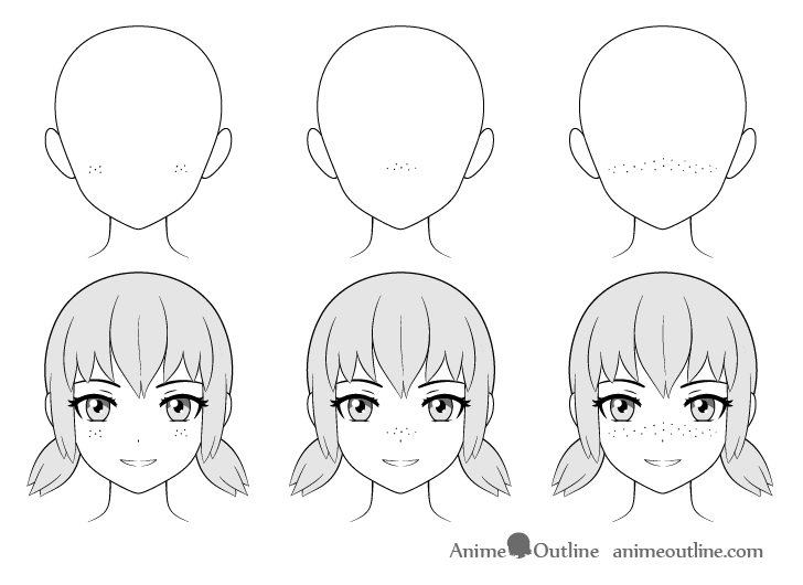 Anime freckles drawing