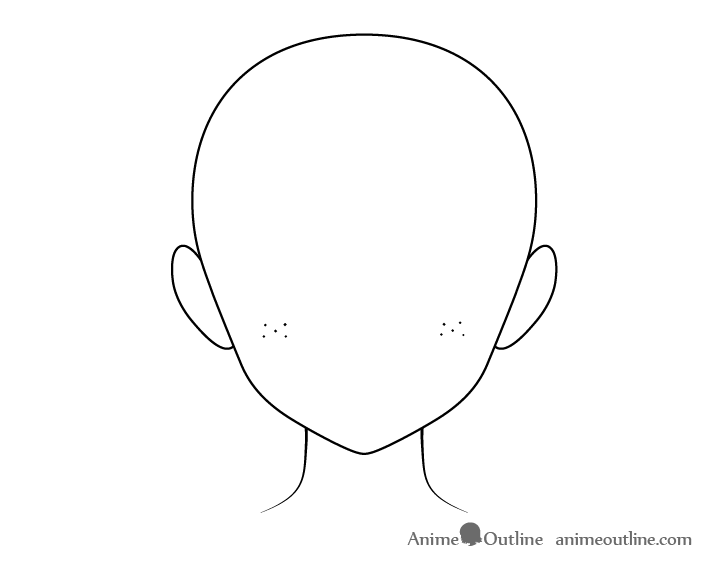 Anime freckles on cheeks head drawing