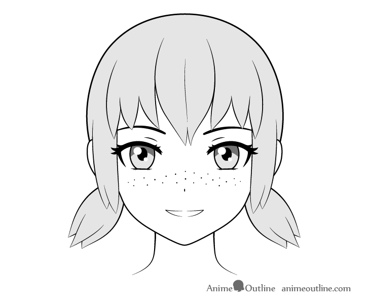 Anime freckles across face drawing