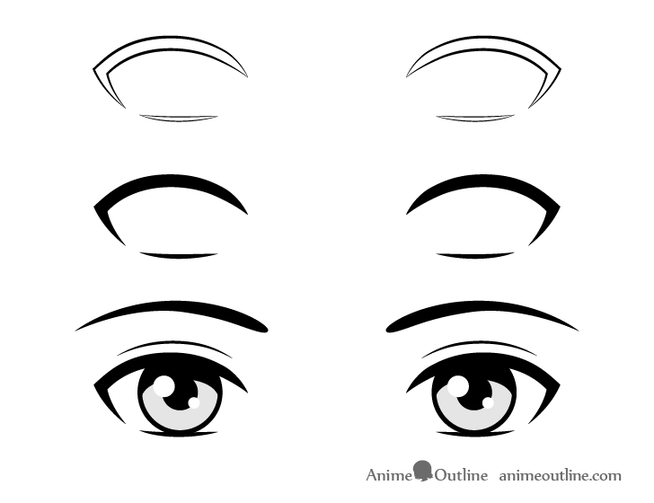 Anime simple eyelashes drawing step by step