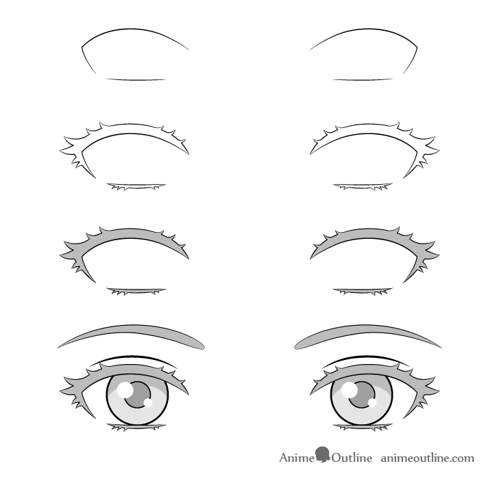 Anime outline eyelashes drawing step by step