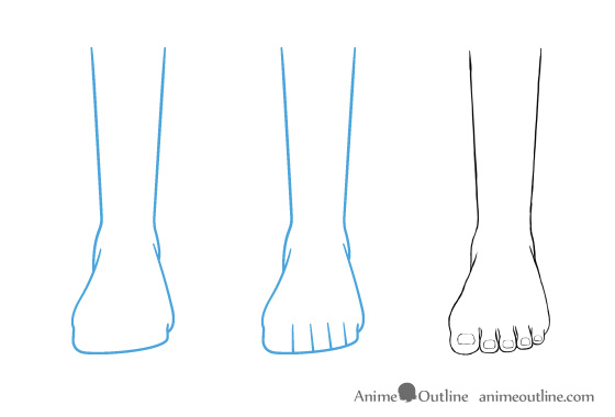 Anime feet drawing in front view