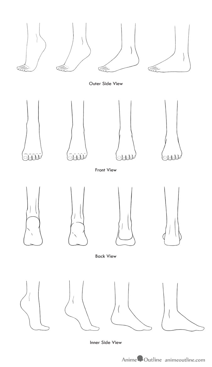 Drawings of anime feet in different positions