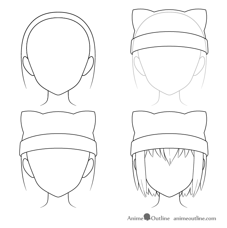 Anime cat ear hat drawing step by step