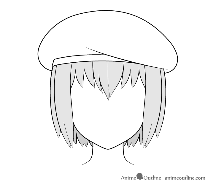 Anime beret drawing