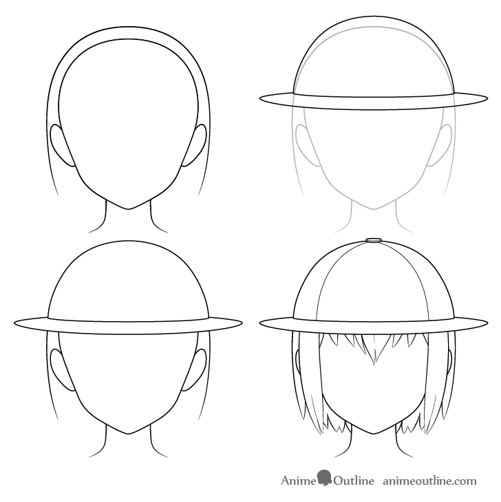 Anime explorer hat drawing step by step
