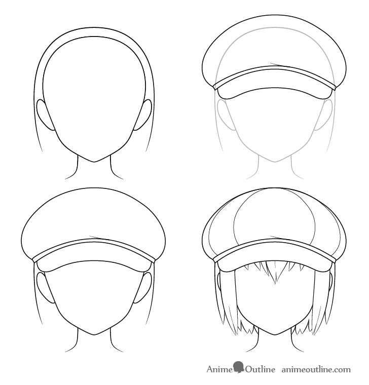 Anime newsboy cap drawing step by step