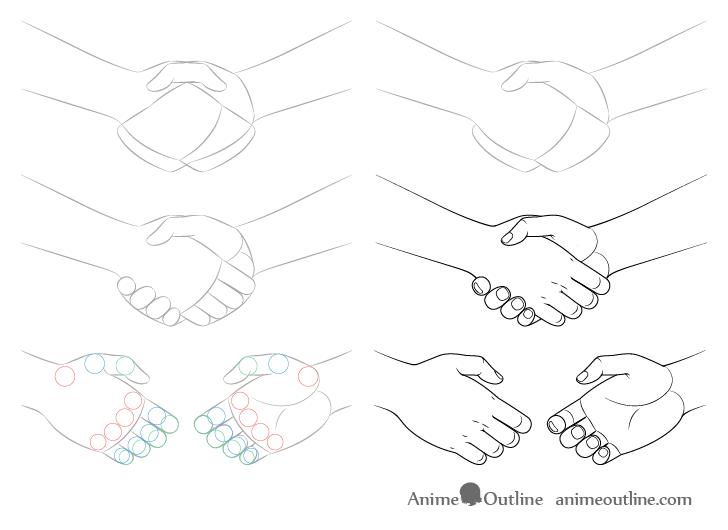 Handshake drawing step by step anime style