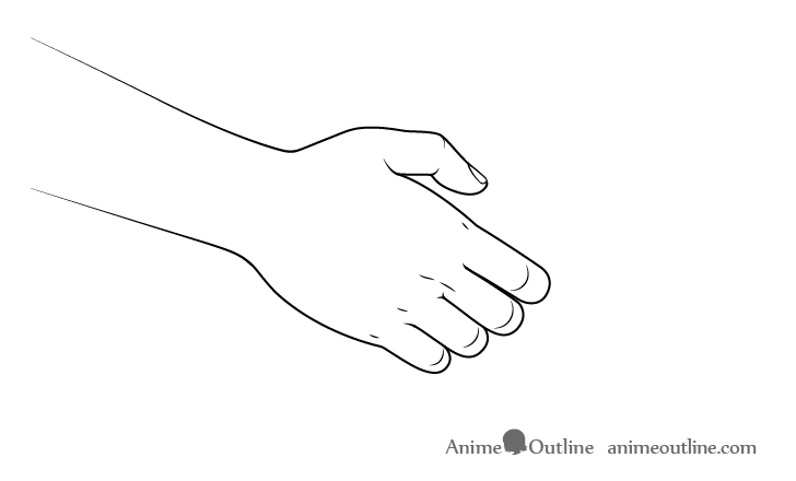 Handshake front hand drawing anime style