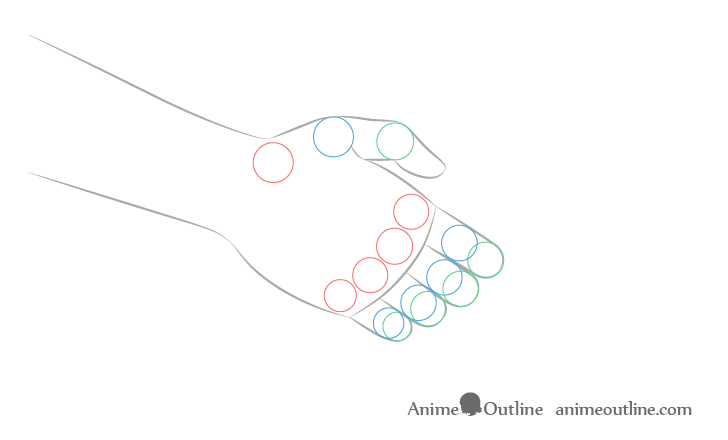 Handshake front hand joints drawing anime style