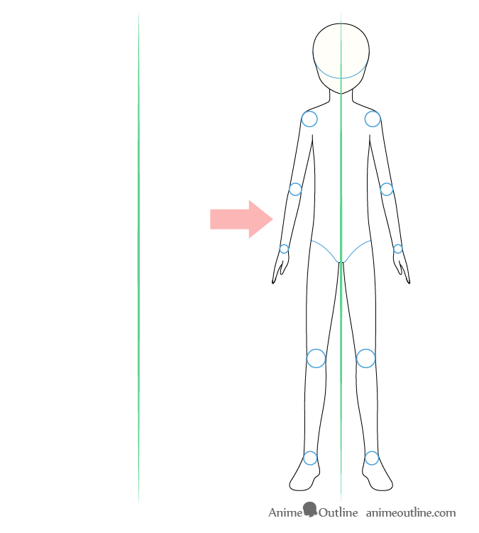 Anime boy body front view drawing