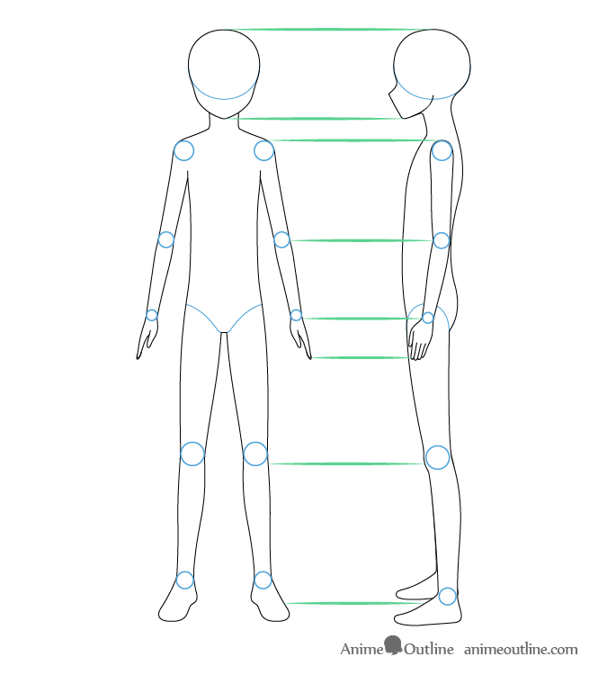 Anime boy front and side view drawing