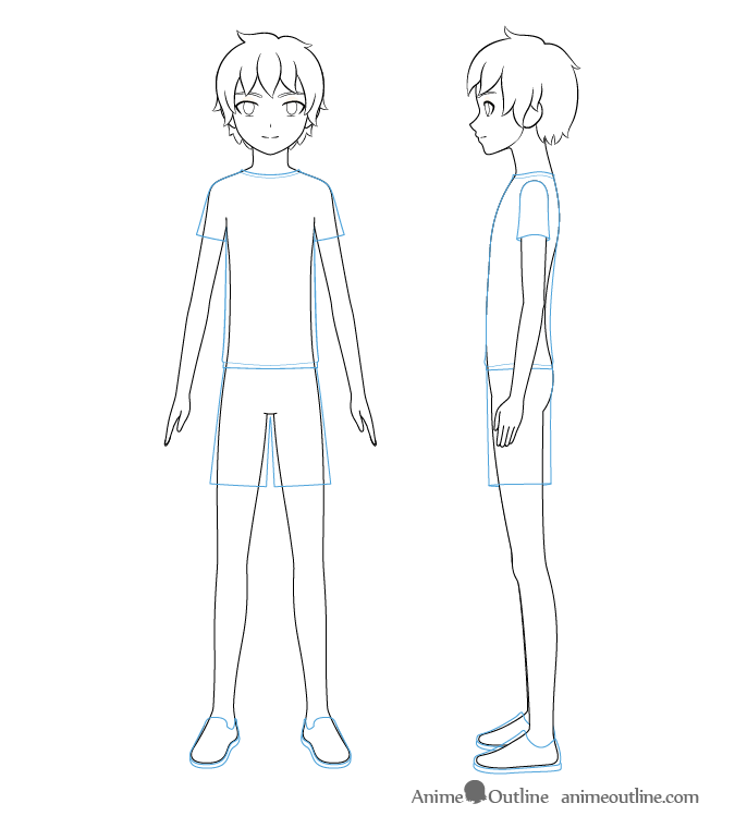 Anime boy clothes drawing