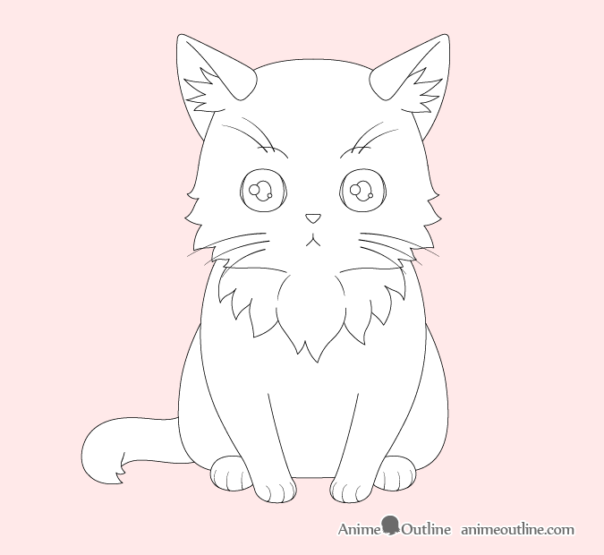Anime cat paws and whiskers drawing