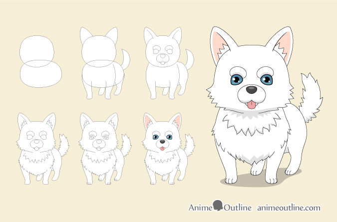Anime dog step by step drawing
