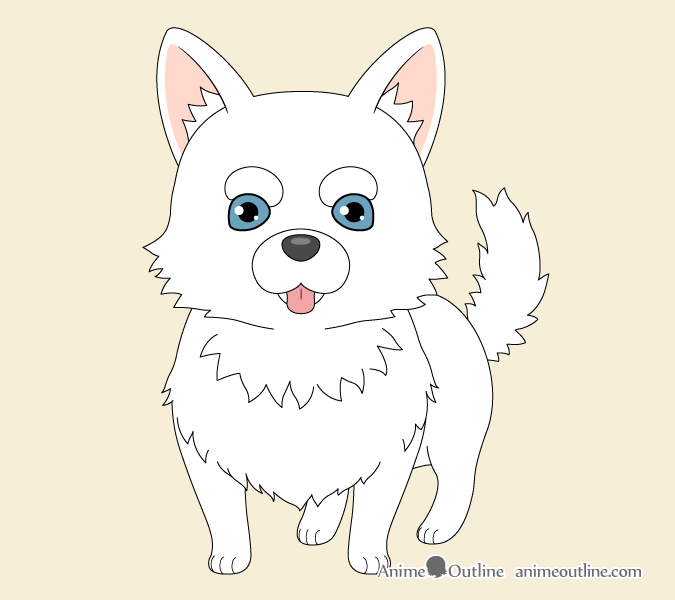 Anime dog colored drawing