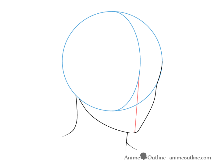 Anime male neck 3/4 view drawing
