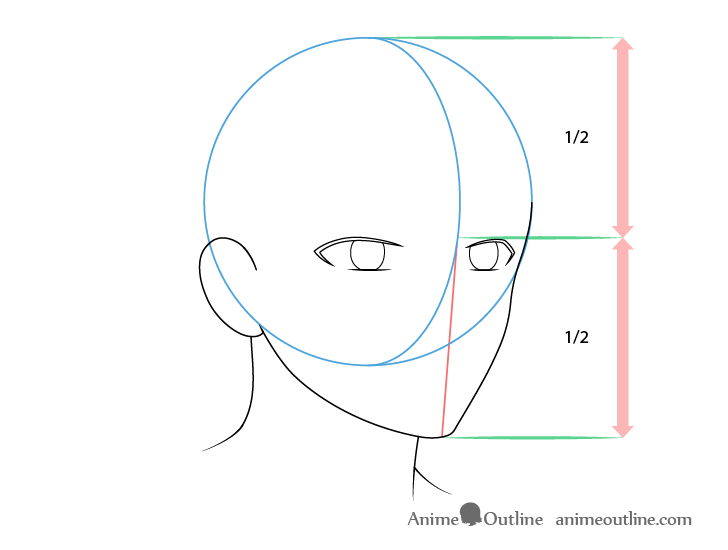 Anime male face 3/4 view eyes drawing