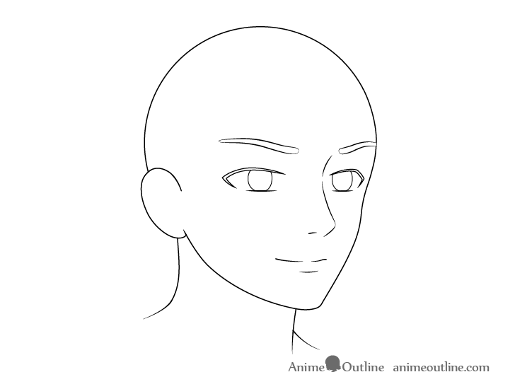 Anime male facial features 3/4 view drawing