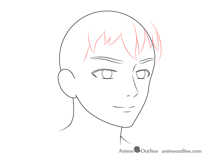 Anime male face 3/4 view front hair drawing