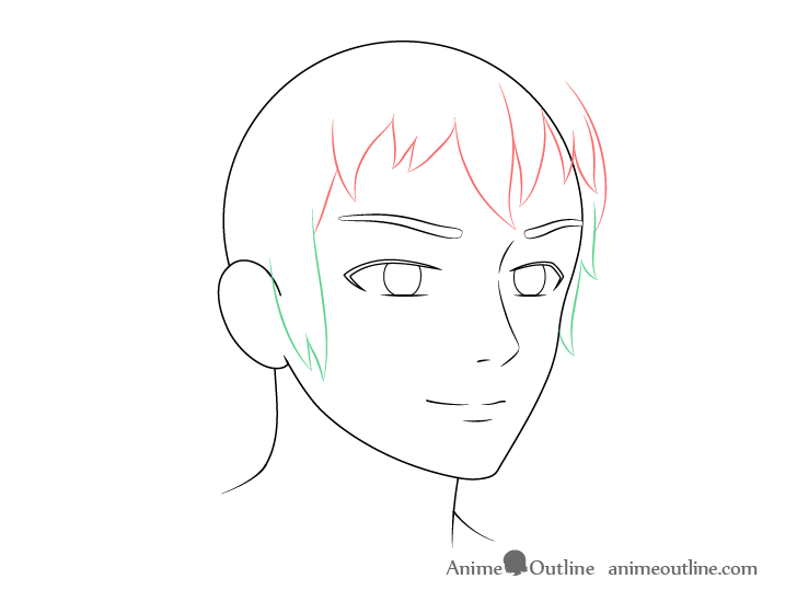 Anime male face 3/4 view sides hair drawing