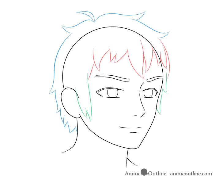 Anime male face 3/4 view hair drawing