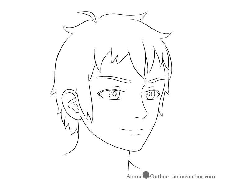 Anime male face 3/4 view line drawing