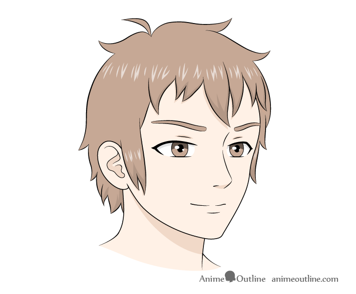 Anime male face 3/4 view drawing