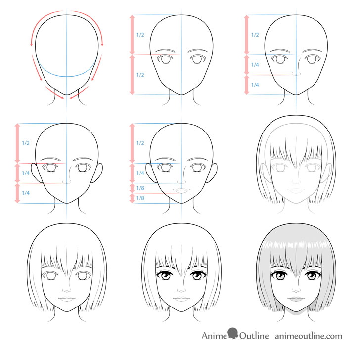 Realistic anime face drawing step by step