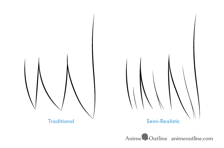 Traditional vs realistic anime hair clumps