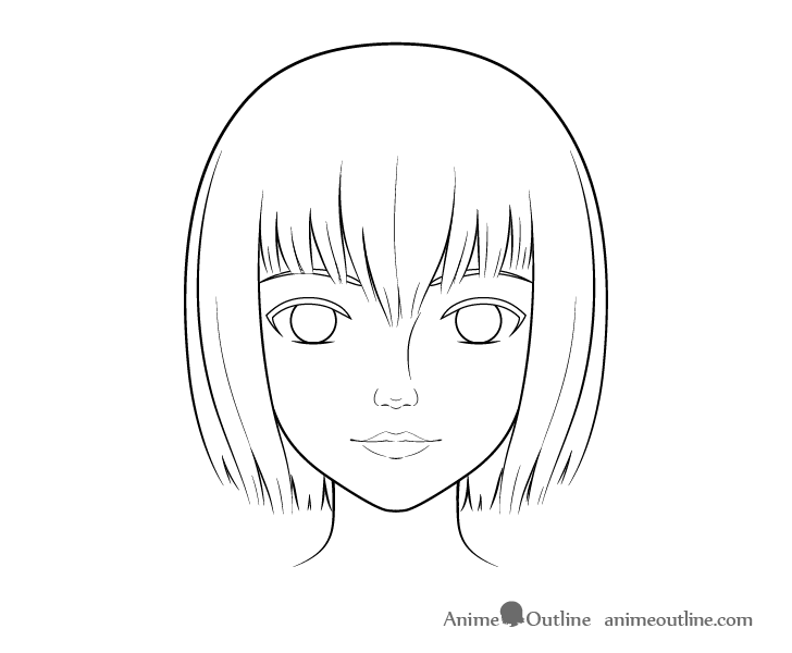 Realistic anime face line drawing