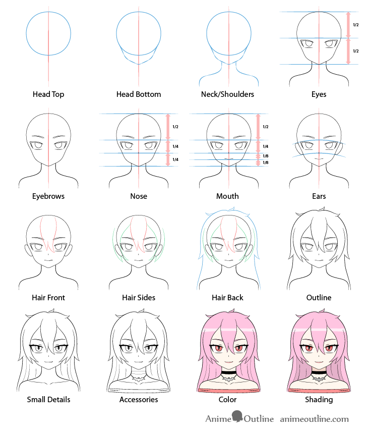Anime vampire girl drawing step by step
