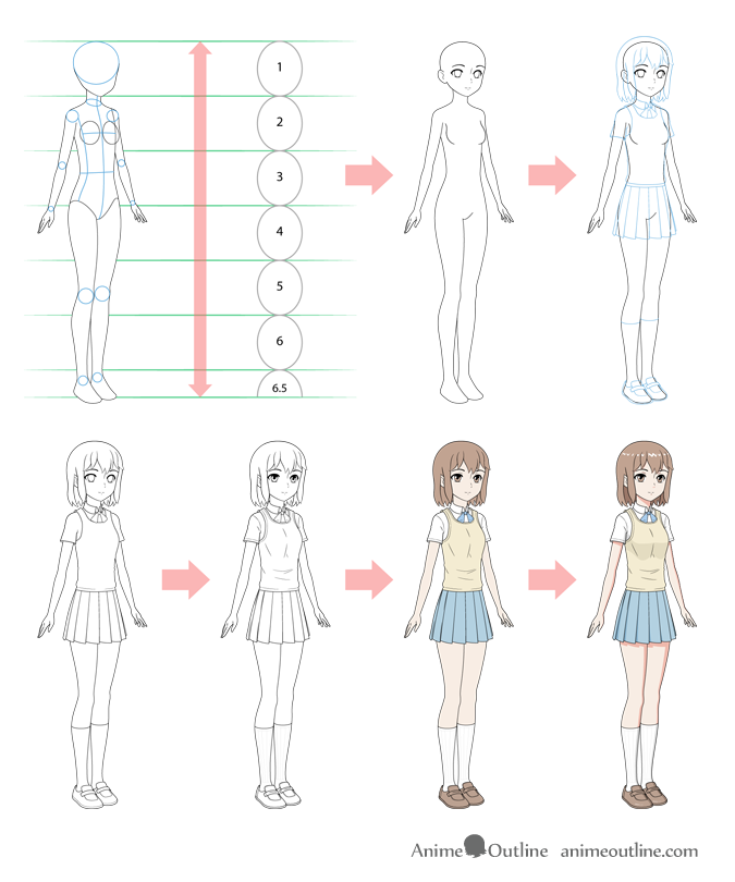 Anime school girl step by step drawing
