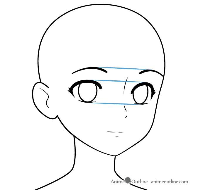 Drawing anime girl facial features three quarter view